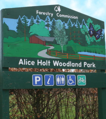 Green, wooden entrance sign for Alice Holt Forest. Illustration of forest and symbols showing facilities