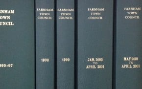 Five leather bound Council minute books.© J Jackson