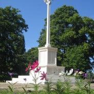 War memorial, flowers, summer, blue sky