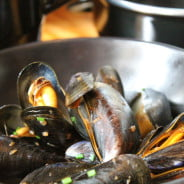 Fresh mussels cooking in a pan. © The Wheatsheaf Pub & Grill
