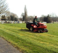 Spring time grass cutting