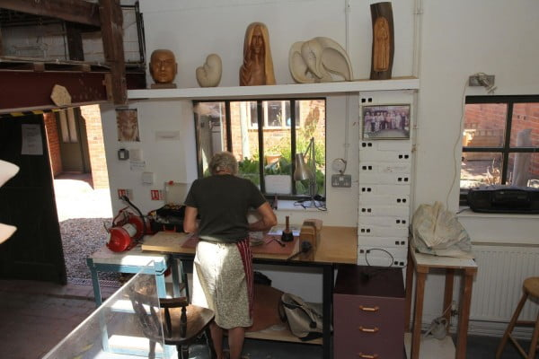 Man in a pottery workshop