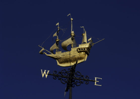 Gold galleon weather vane.