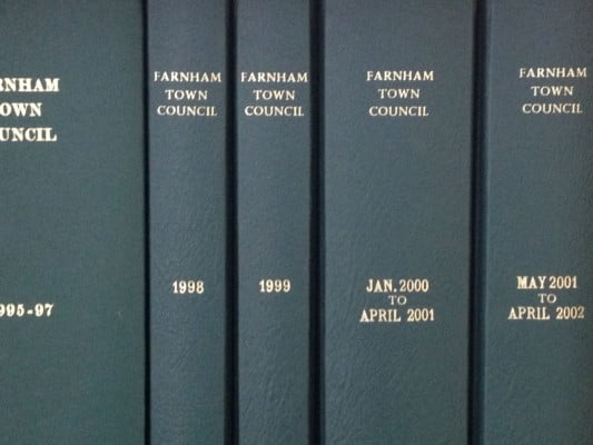 Five leather bound Council minute books.© J Jackson