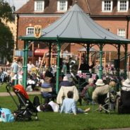 Crowd of people and bandstand