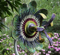 Passion Flower sculpture in a garden