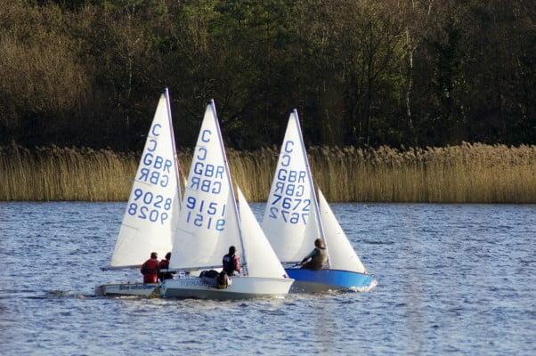 Three sailing boats, Frensham Pond.
