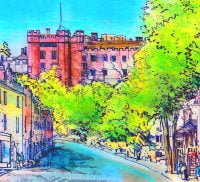 Colourful painting of Castle Street and Farnham Castle in the background