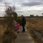 wooden boardwalk, moat on the right, grassland surrounding. Male and child on boardwalk.