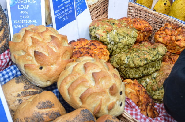 Display of artisan bread at the farmers' market © David Fisher