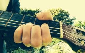 Hand, guitar neck, sky, trees.