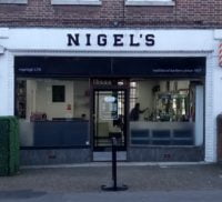 Front of Nigel's barbers shop