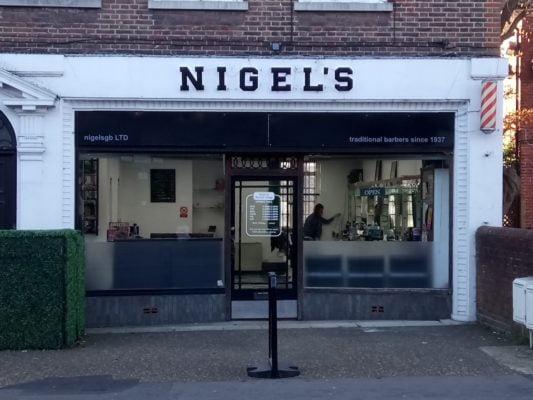 Front of Nigel's barbers shop