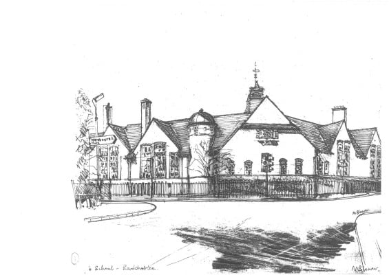 Pencil sketch of Badshot Lea School by Michael Blower. © Michael Blower