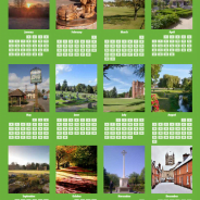 Calendar. Pictures of Farnham on a green background and showing days of month.