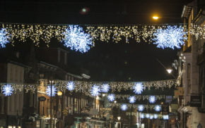 Christmas lights in town centre street