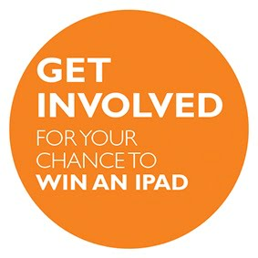 Orange circle with white writing saying Get involved for your chance to win an iPad. Neighbourhood plan consultation.