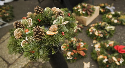 Christmas Wreaths at Market