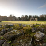 Moss covered stone in foreground, grass expanse with abbey ruin in background. Sunny winter day.