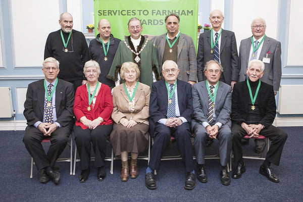 The Mayor with the recipients of Services to Farnham Awards.