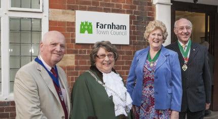 Bob Frost; Cllr Mrs Pat Frost, Mayor of Farnham; Gillian Ward and Cllr John Ward, Deputy Mayor of Farnham.