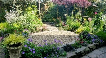 Courtyard garden in the summer.
