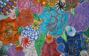 drawings of colourful flowers.