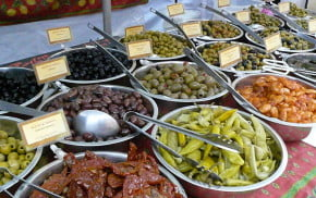 Bowls of olives at the Food Festival