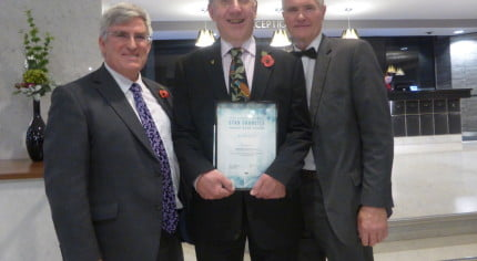 Receiving a certificate at the Star Councils' awards.