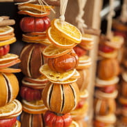 Garlands of Christmas decorations made from dried oranges