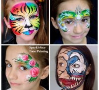 Montage showing four girls with their faces painted.