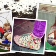 Montage of images - children in a greenhouse, a colourful shoe and a girl handling soil.