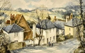 Watercolour of a village scene