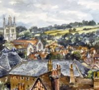 Watercolour of town centre rooftops.