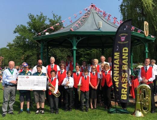 Farnham Brass Band cheque handover
