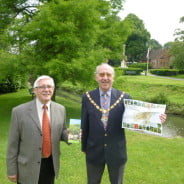 Mayor of Farnham, Councillor John Ward is photographed with Peter Bridgeman in front of a dawn redwood, number 3 on the tree trail.