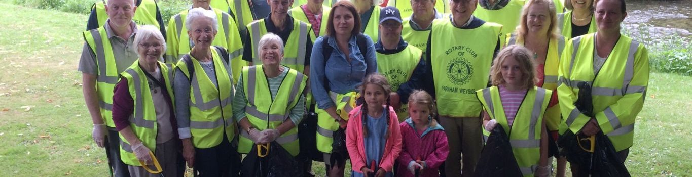 Volunteers who took part in a town centre litter pick.
