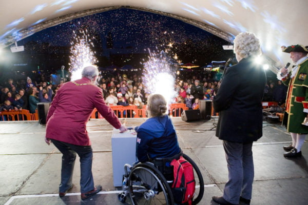 Cllr John Ward and Rachel Morris switch on the Christmas lights 2016
