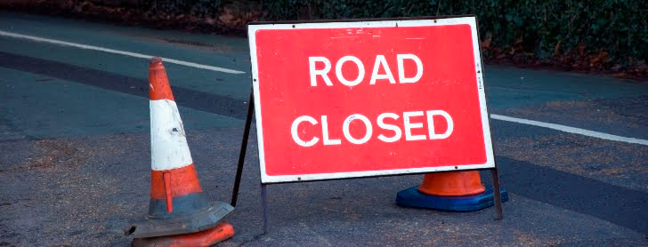 Road closed sign banner