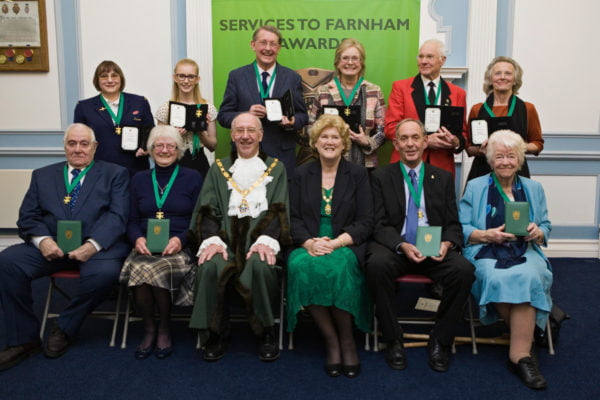 Recipients of Services to Farnham Awards 2017.