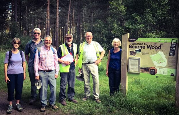A walk around Bourne Woods with sign 2017 copyright David Dearsley