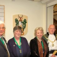 Caption: Cllr David Attfield, Deputy Mayor, Anne Attfield, Cllr Julia Potts, Mayor's Consort and Cllr Mike Hodge, Mayor of Farnham.