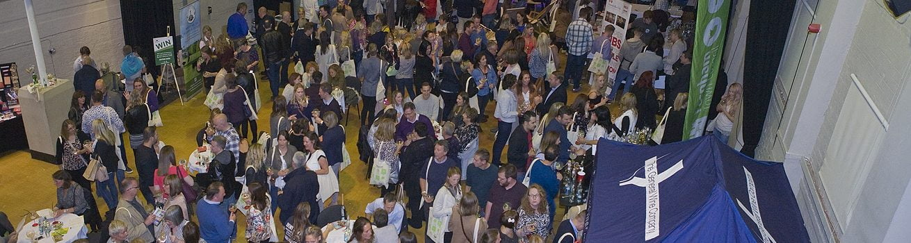 Aerial view of crowd of people at Gin Festival