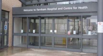 Farnham Hospital entrance.