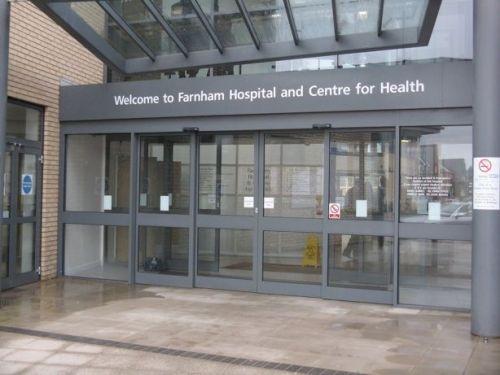 Farnham Hospital entrance.
