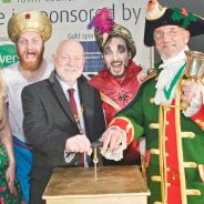 Mayor, town crier and pantomime characters.
