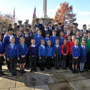 School children at war memorial