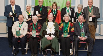 Mayor with group of 11 winners of Services to Farnham awards.