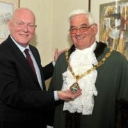 Cllr Mike Hodge with newly elected Mayor of Farnham Cllr David Attfield