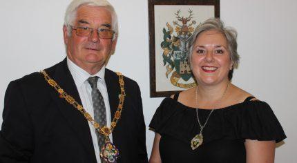 Mayor of Farnham Cllr David Attfield with newly elected Deputy Mayor Cllr Paula Dunsmore.